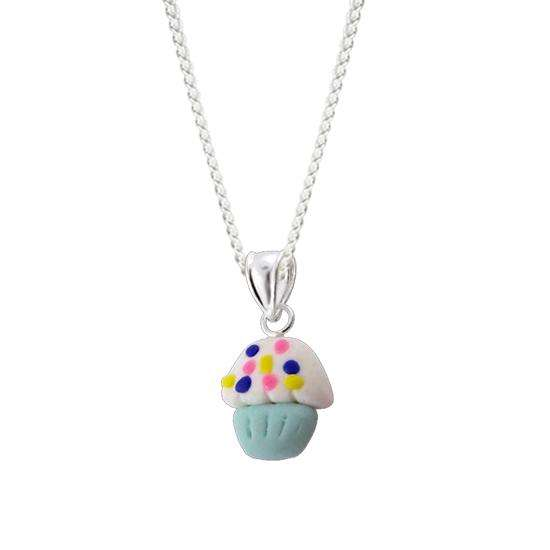 Sterling Silver Cup Cake Charm Necklace