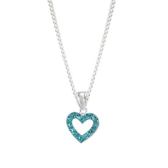 Sterling Silver & Aqua Crystal Heart Charm Necklace
