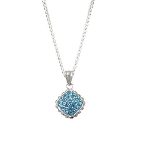 Sterling Silver & Aqua Crystal Pendant Charm Necklace