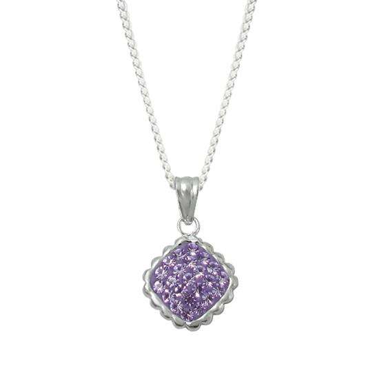 Sterling Silver & Violet Crystal Pendant Charm Necklace