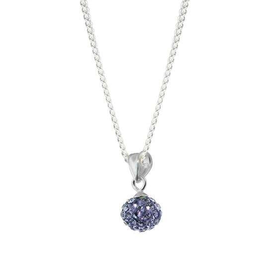 Sterling Silver & Violet Crystal Peridot Ball Charm Necklace