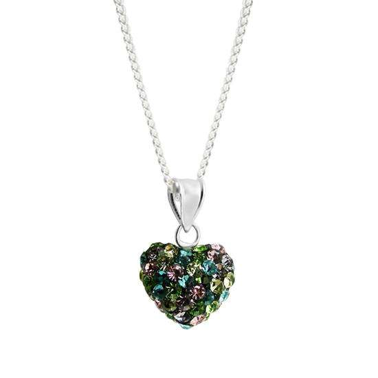 Sterling Silver Black Crystal Heart Charm Necklace
