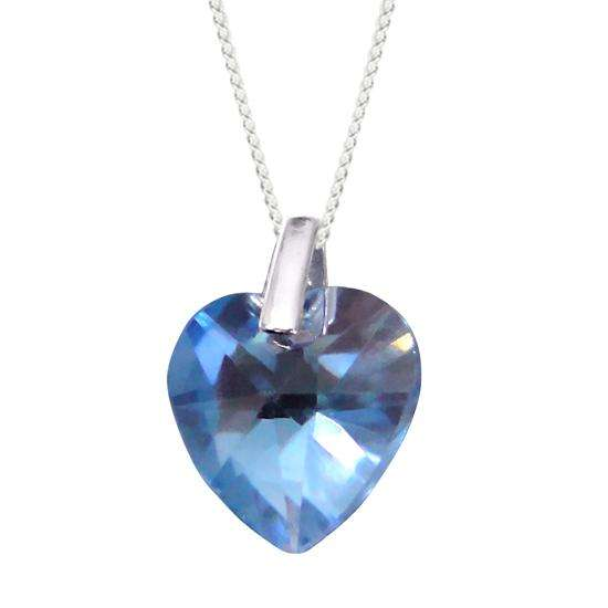 Sterling Silver Blue Heart Crystal Charm Necklace