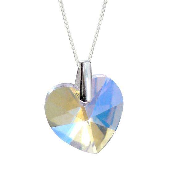 Sterling Silver AB Heart Crystal Charm Necklace