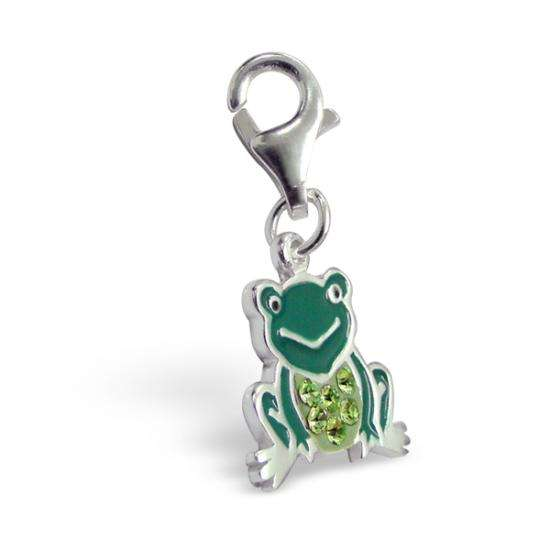 Sterling Silver Crystal & Enamel Frog Clip on Charm