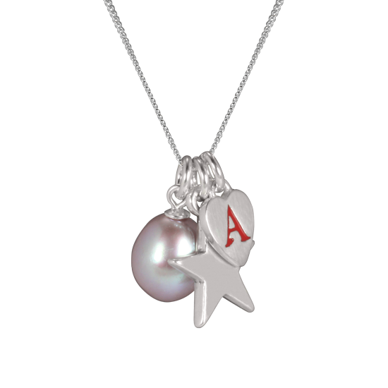Sterling Silver Rose Pearl Personalised Charm Necklace
