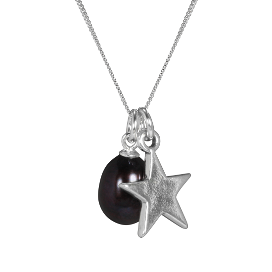 Sterling Silver Freshwater Tahitian Pearl & Star Charm Necklace