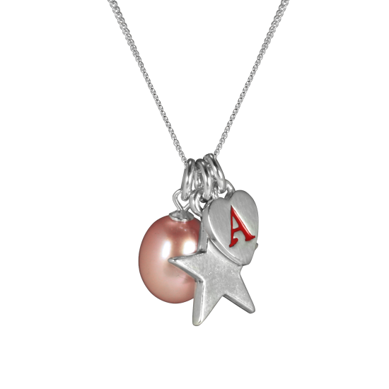 Sterling Silver Peach Pearl Cluster Charm Necklace