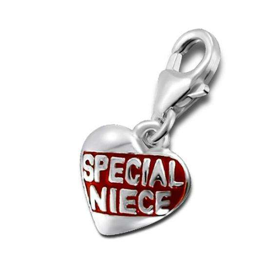 Sterling Silver Special Niece Heart Clip on Charm