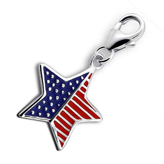 Sterling Silver USA Star Flag Clip on Charm