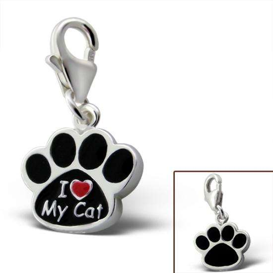 Sterling Silver I Love My Cat Paw Clip on Charm