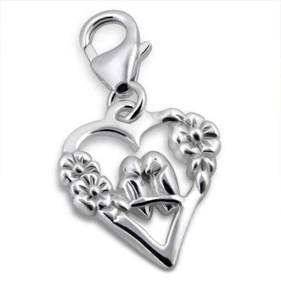 Sterling Silver Lovebirds in a Heart Clip on Charm