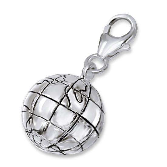 Sterling Silver Spherical Globe Clip on Charm