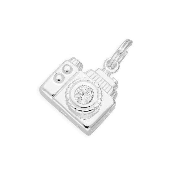 Sterling Silver and Crystal Funky Retro Camera Charm