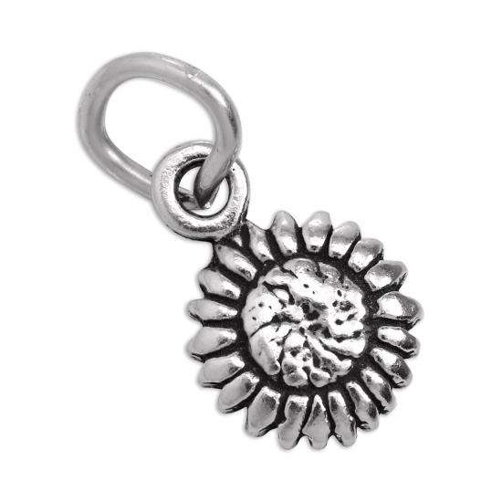 Tiny Sterling Silver Flat Sunflower Charm