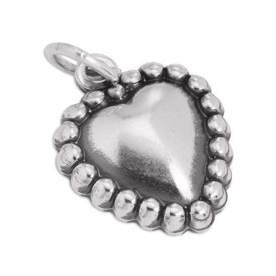 Sterling Silver Beaded Heart Charm