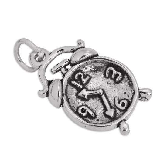 Sterling Silver Alarm Clock Charm