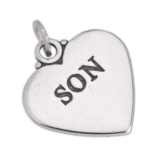 Sterling Silver Son Heart Charm