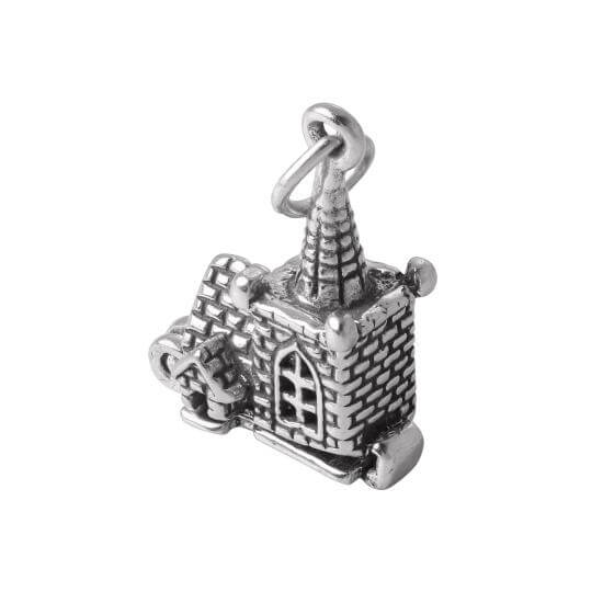 Sterling Silver Church With Couple Charm