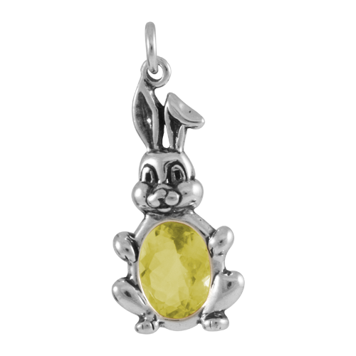 Sterling Silver Crystal Bunny Rabbit Charm
