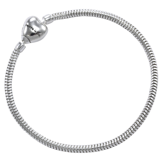 Sterling Silver Magnetic Heart Clasp Bead Bracelet