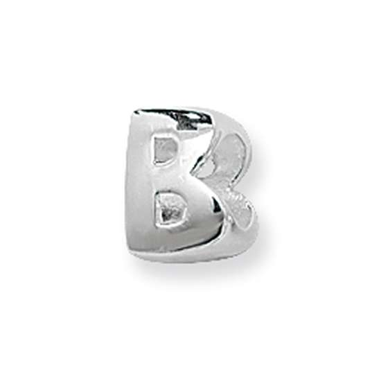 Silver Letter B: Sterling Silver Letter B Bead