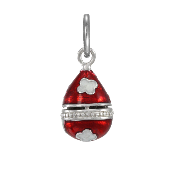 Sterling Silver Red Faberge Style Egg