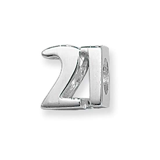 Sterling Silver Number 21 Bead