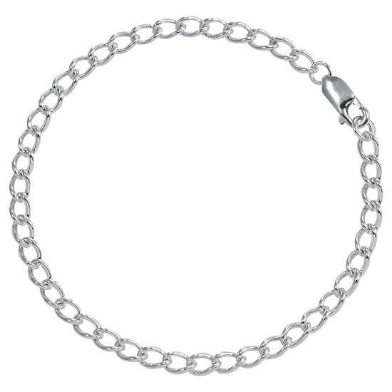 Sterling Silver Curb Chain Bracelet with Clasp