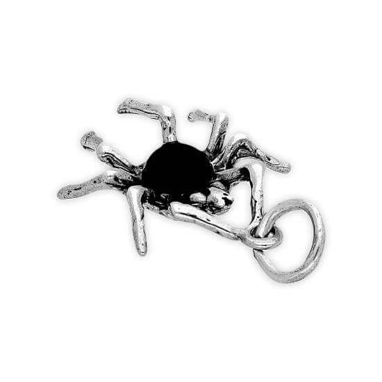 Sterling Silver Spider With Black Crystal Body Charm
