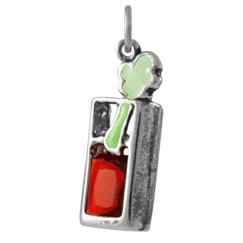 Sterling Silver Crystal Bloody Mary Cocktail Charm