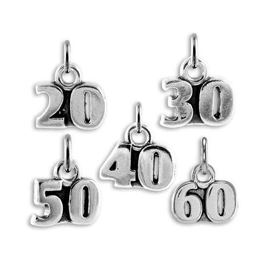 Sterling Silver Birthday Number Charms 20th - 60th