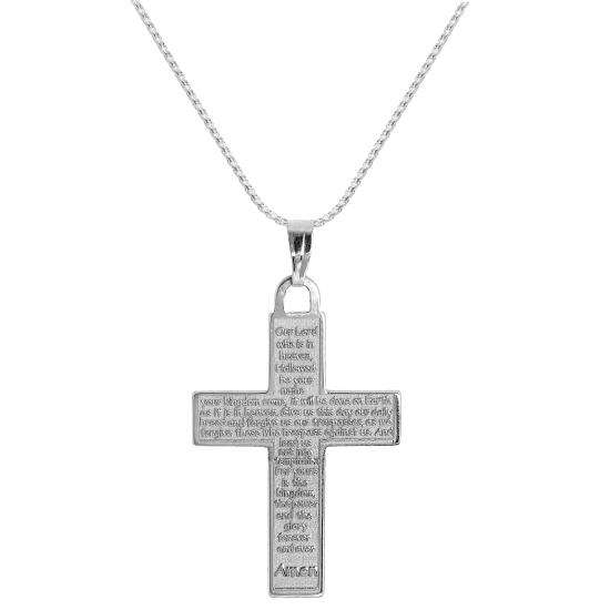 Sterling Silver Cross with Lord's Prayer Pendant on Chain