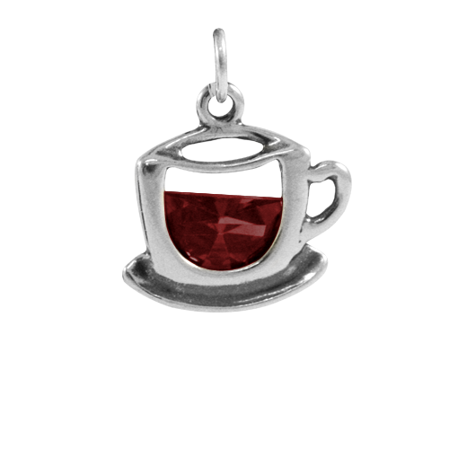 Sterling Silver & Crystal Cup of Tea Charm