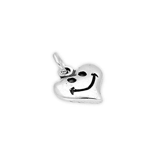 Sterling Silver Smiley Heart Charm