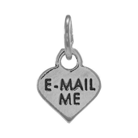 Sterling Silver Email Me Heart Charm