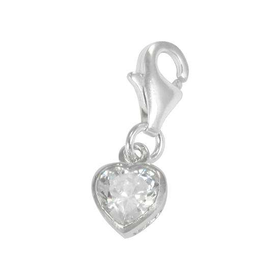 Sterling Silver Heart Crystal Clip on Charm