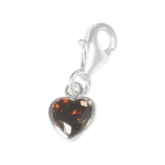 Sterling Silver Dark Amber Heart Crystal Charm