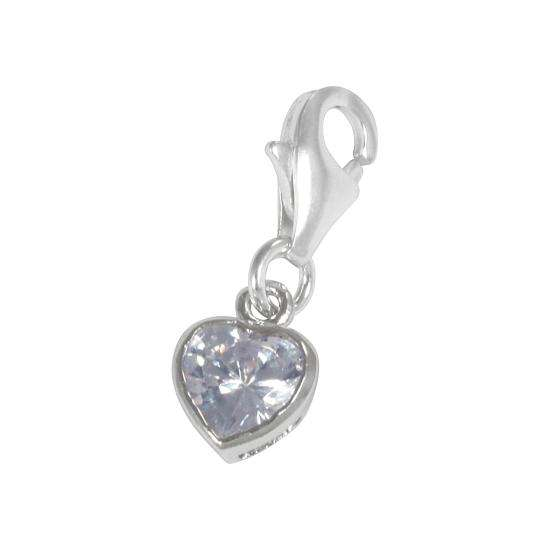 Sterling Silver Ice Blue Heart Crystal Clip on Charm