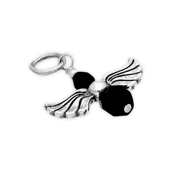 Sterling Silver Black Crystal Angel Charm