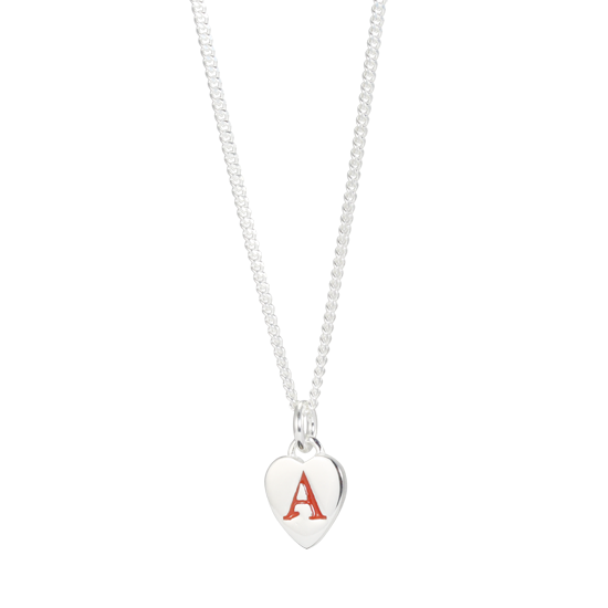 Sterling Silver Enamel Letter Charm Necklace