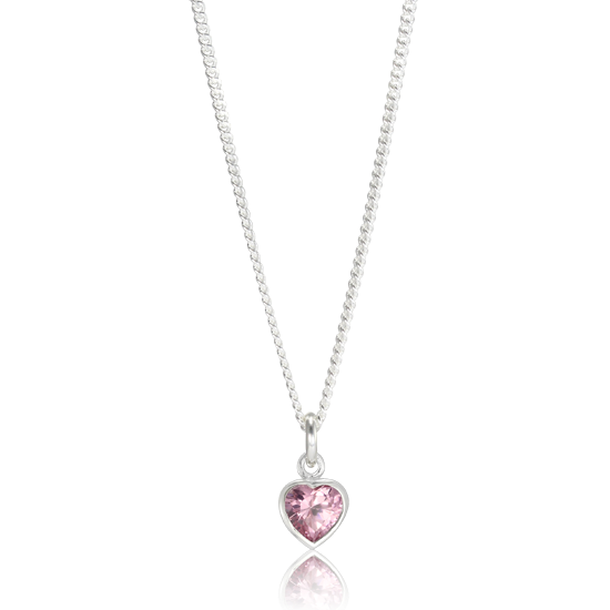 Sterling Silver Pink Heart Crystal Charm Necklace