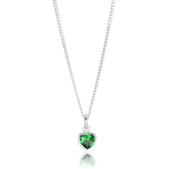 Sterling silver emerald heart crystal charm necklace thecharmworks sterling silver emerald heart crystal charm necklace aloadofball Choice Image