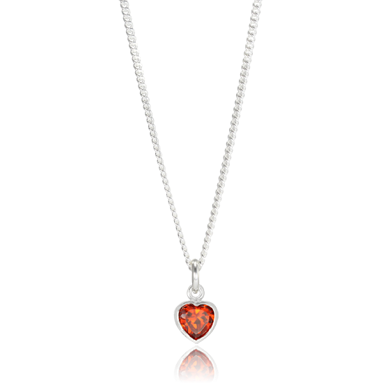 Sterling Silver Siam Red Heart Charm Necklace