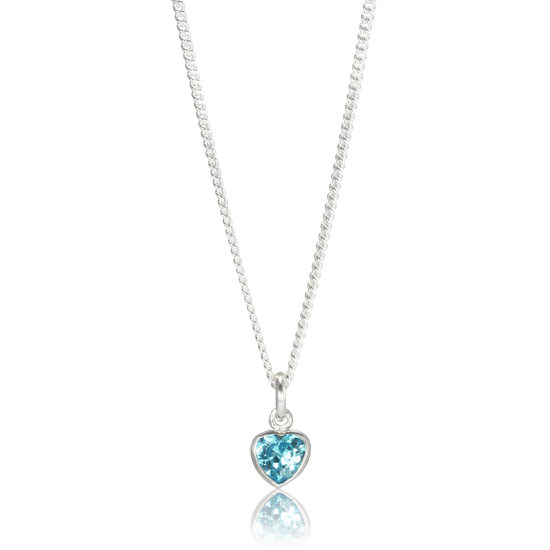 Sterling Silver Blue Heart Charm Necklace