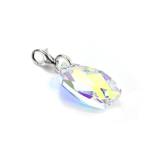 Sterling Silver Faceted Aurora Borealis Crystal Clip on Charm