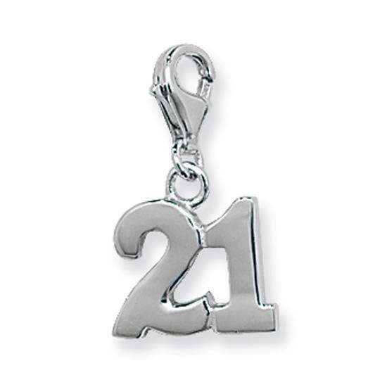 Sterling Silver 21st Birthday Clip on Charm