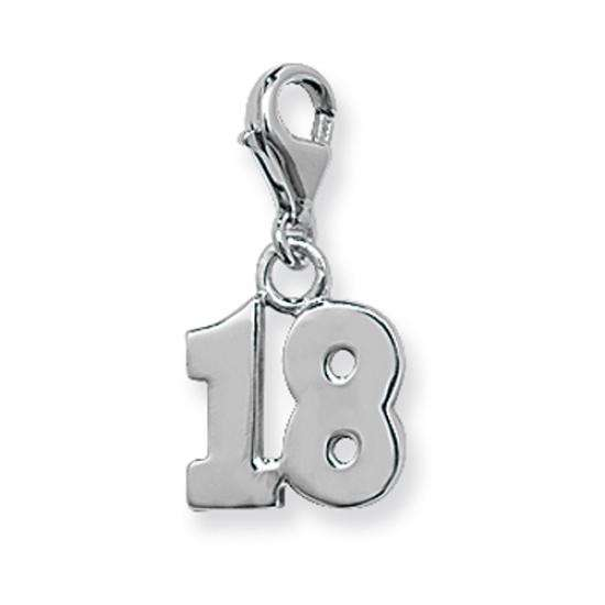 Sterling Silver 18th Birthday Clip on Charm