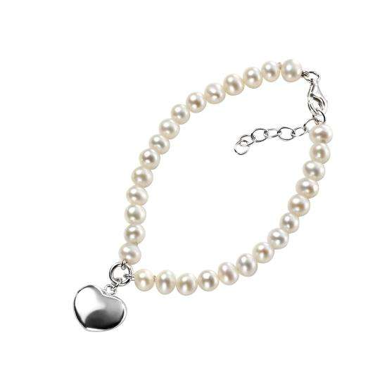 Pearl Bracelet With Puff Heart Charm
