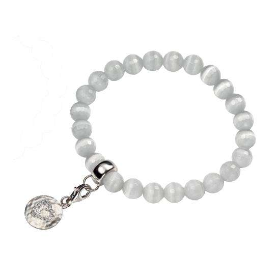 Catseye Stretch White Bracelet with Cubic Zirconia Heart Charm